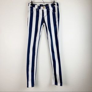 Juicy Couture Blue and White Striped Jeans 25